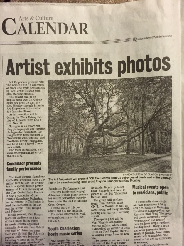 My image and a small write up was in the Charleston Daily Mail last night